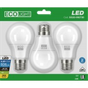 ECOLIGHT BOX (3 LAMPADE) LED E27 8,8 WATT 806 LUMEN LUCE CALDA